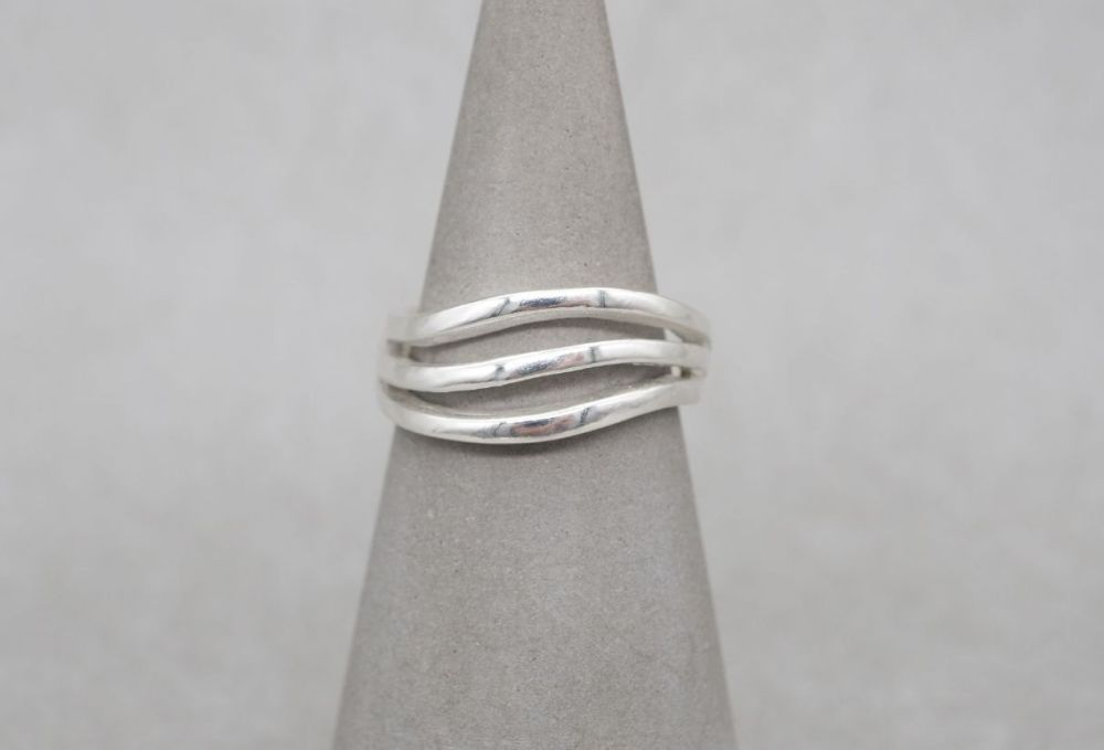 Sterling silver tri-wave ring