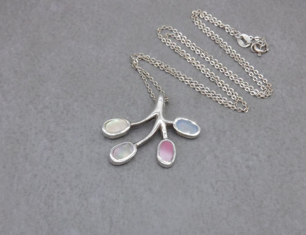 Sterling silver & dyed mother of pearl necklace