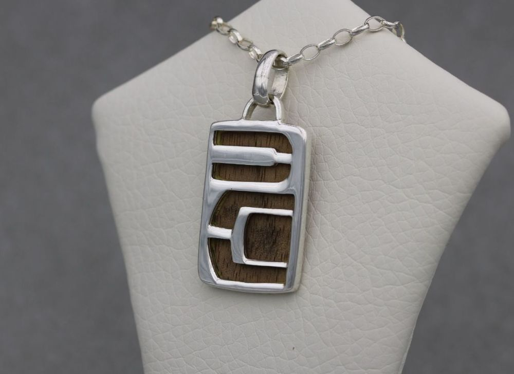 Unusual sterling silver & wood necklace