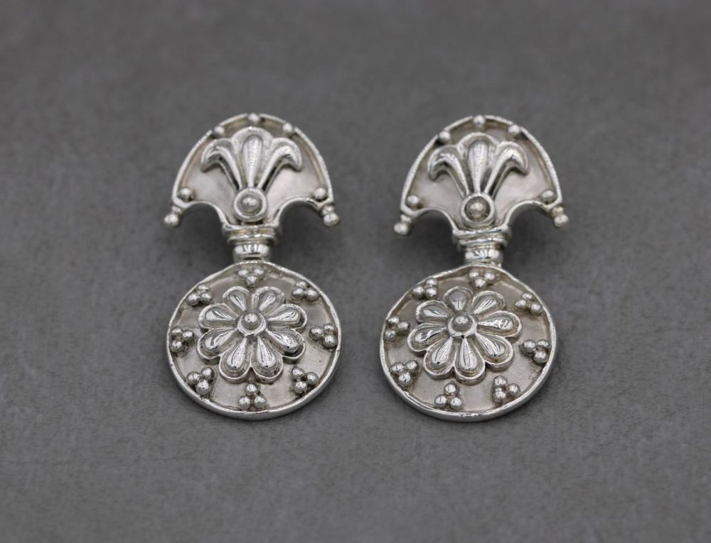 Large decorative vintage sterling silver earrings