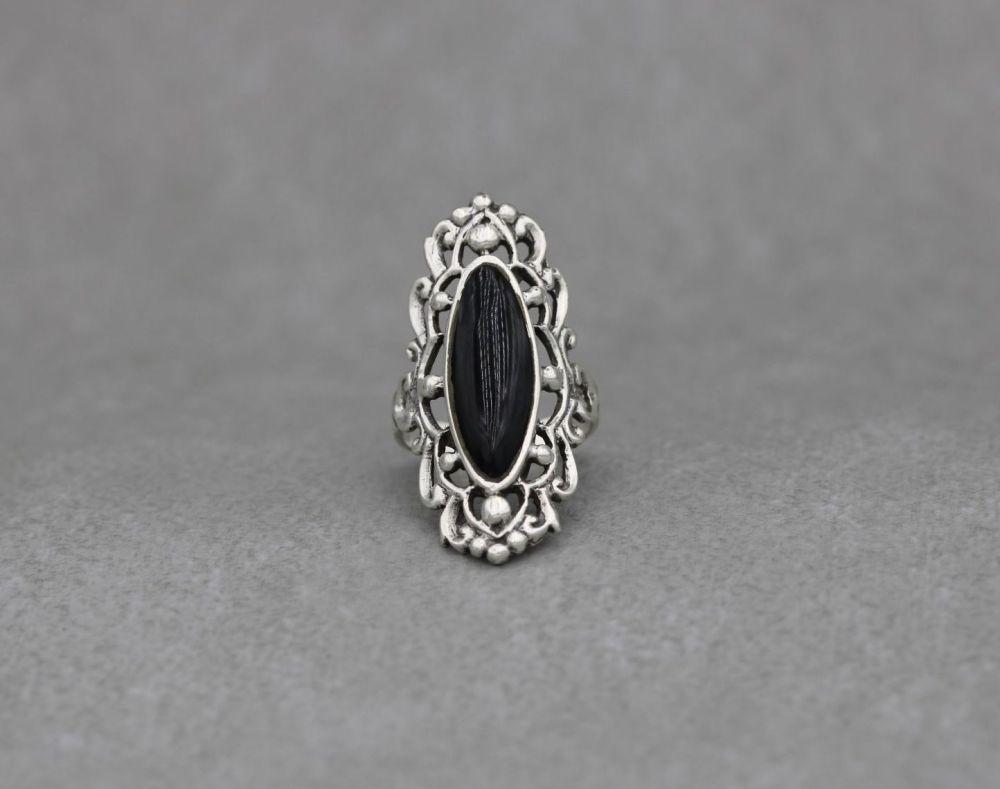 Long fancy sterling silver & black onyx ring