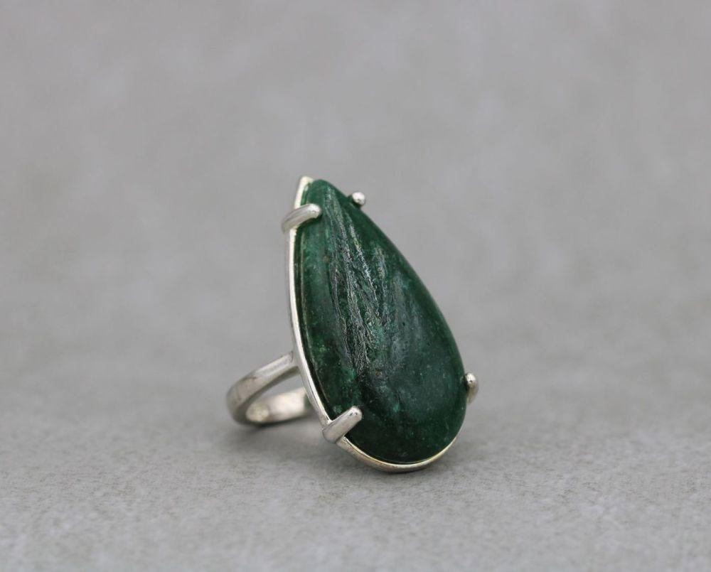 Long sterling silver & green aventurine ring