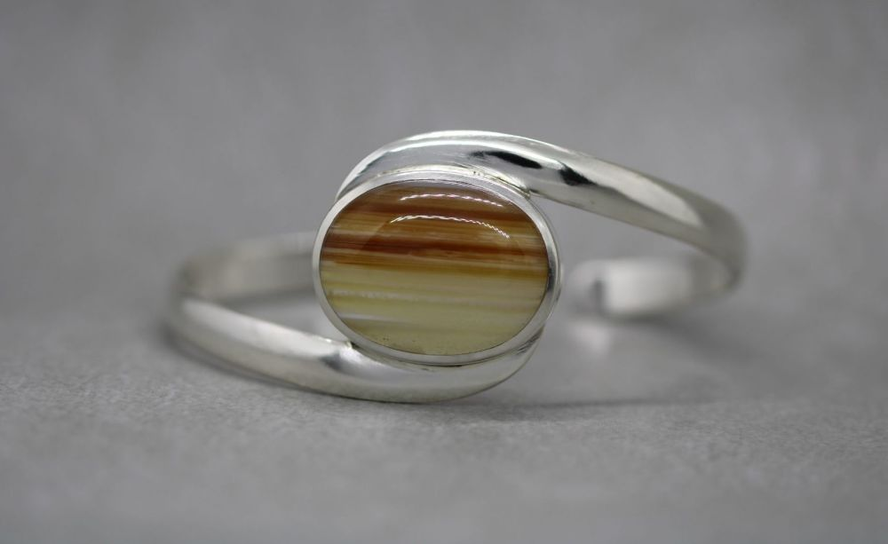 Chunky sterling silver & banded agate cuff