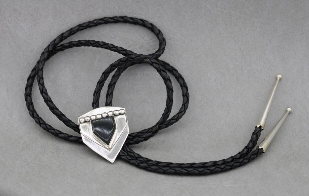 South western sterling silver, black leather & onyx bolo-tie necklace