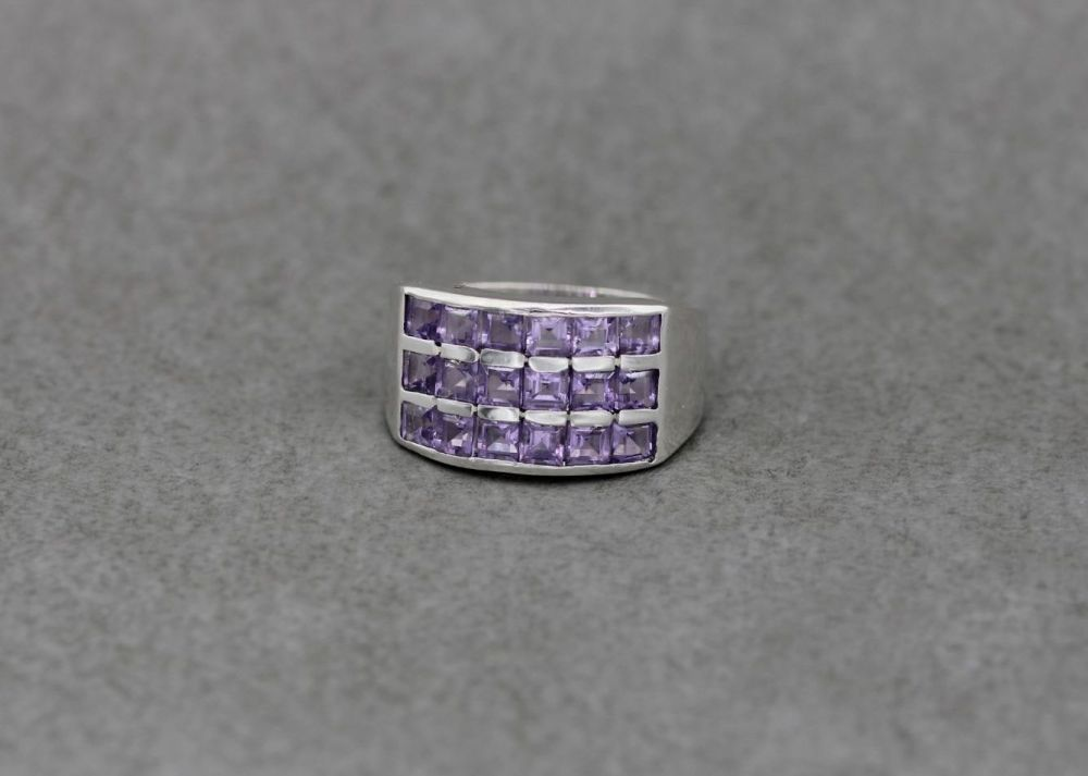 Sterling silver ring with square pale amethyst cz stones