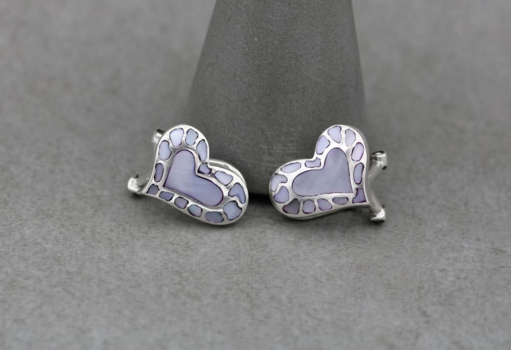 Sterling silver heart earrings with pale pink mother of pearl inlay