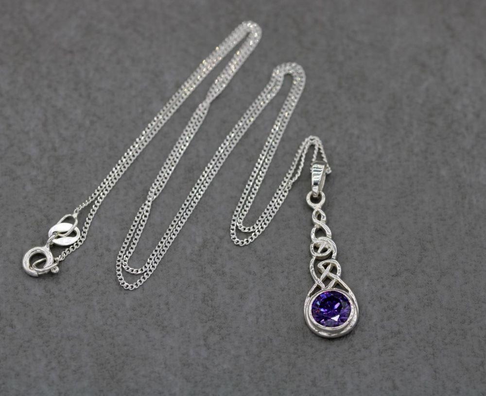 Sterling silver celtic drop necklace