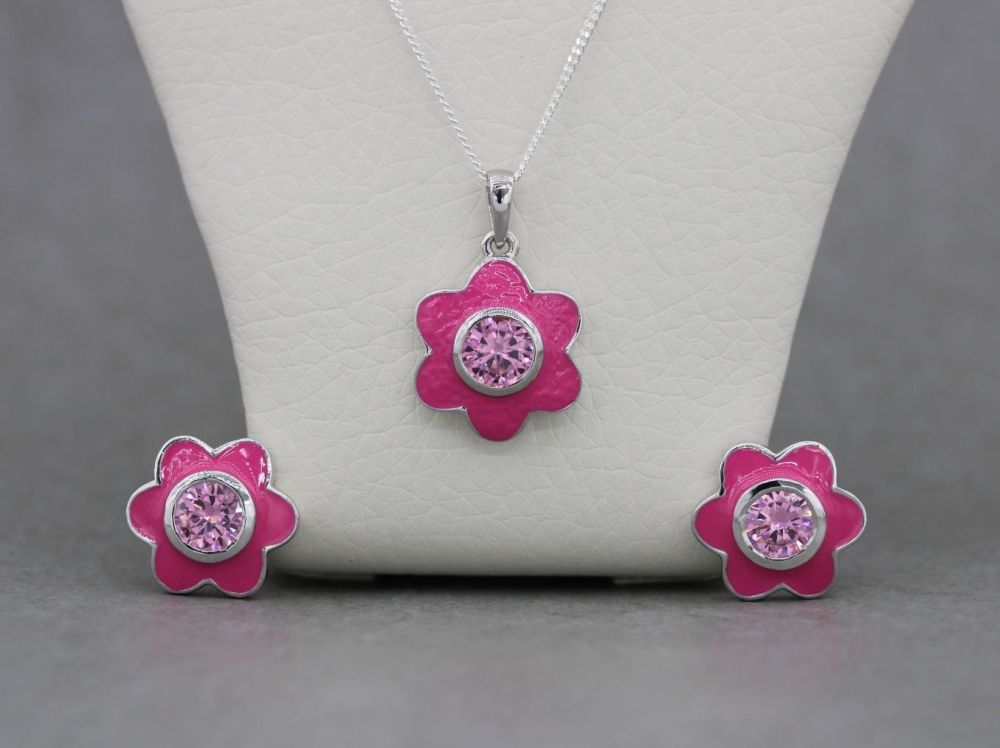 Sterling silver & bright pink flower necklace and earring set