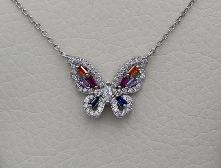 Sterling silver butterfly necklace with multi-colour stones