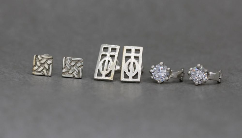 3 x pairs of sterling silver earrings