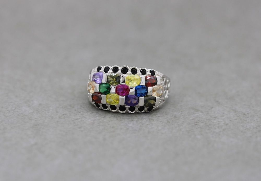 Sterling silver & multi-colour stone ring