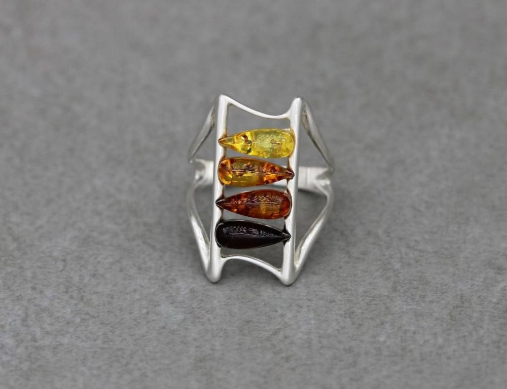 Sterling silver & pressed multi amber ring