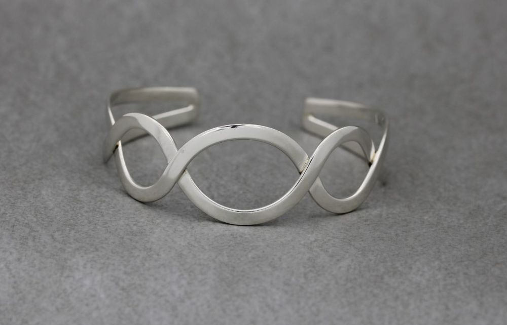 Sterling silver entwined wave cuff