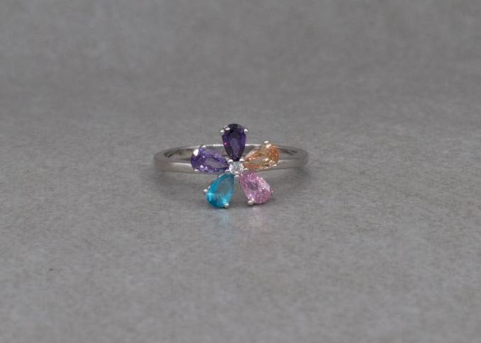 Sterling silver & multi-colour stone flower cluster ring