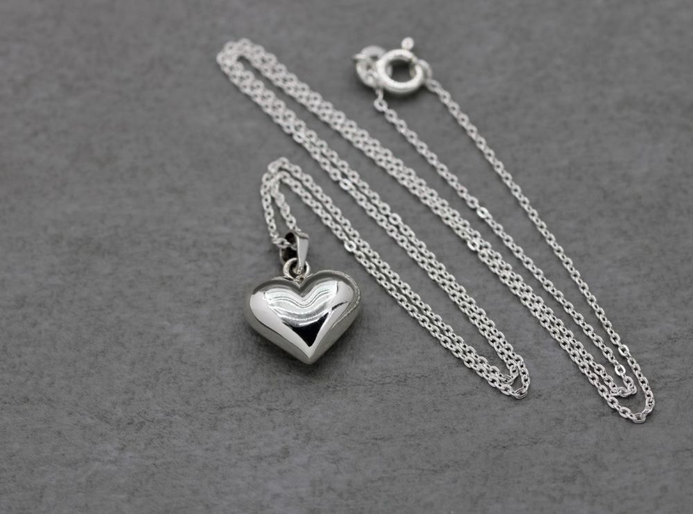 Small sterling silver puffy heart necklace