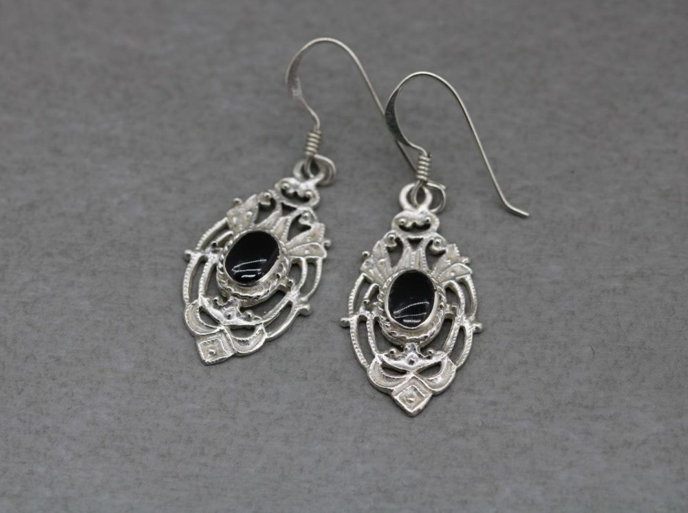 Fancy sterling silver & black onyx earrings