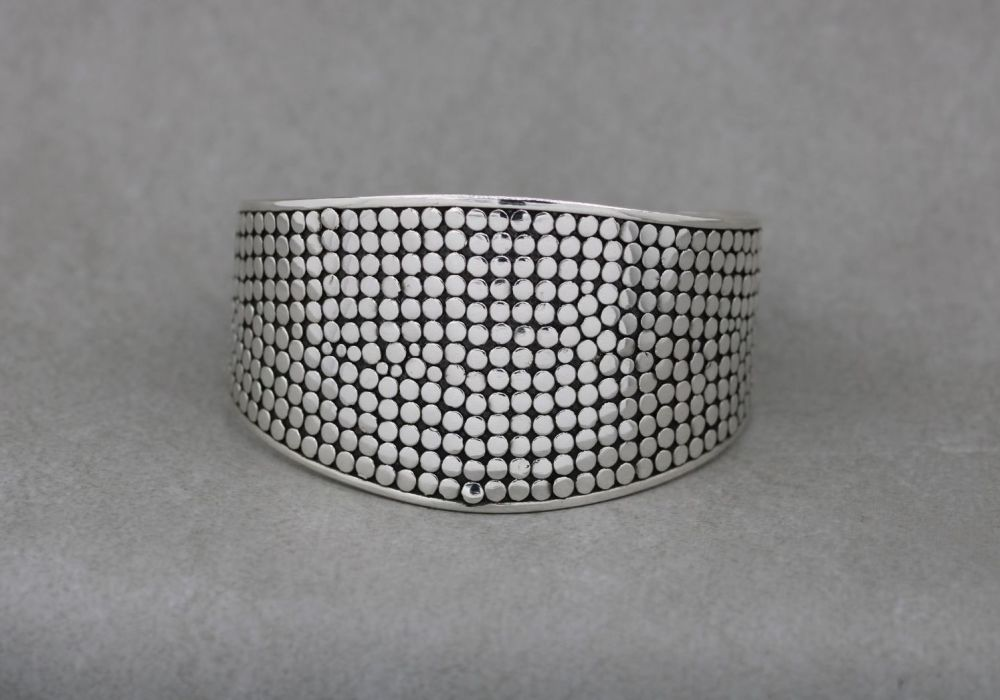 Graduated dotty textured sterling silver wrist cuff