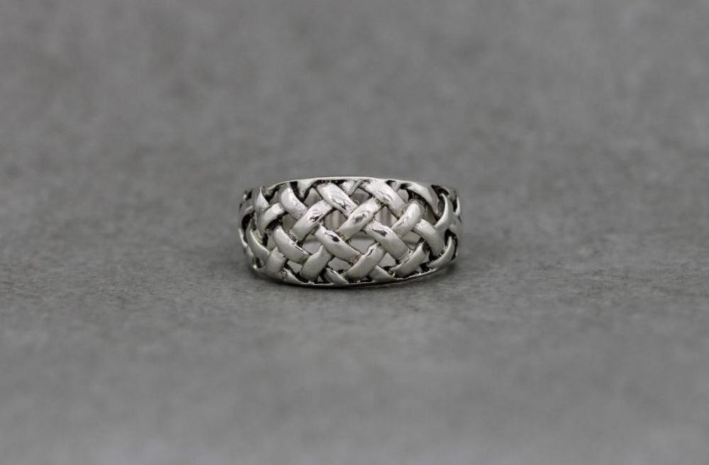 Sterling silver ring with a woven design