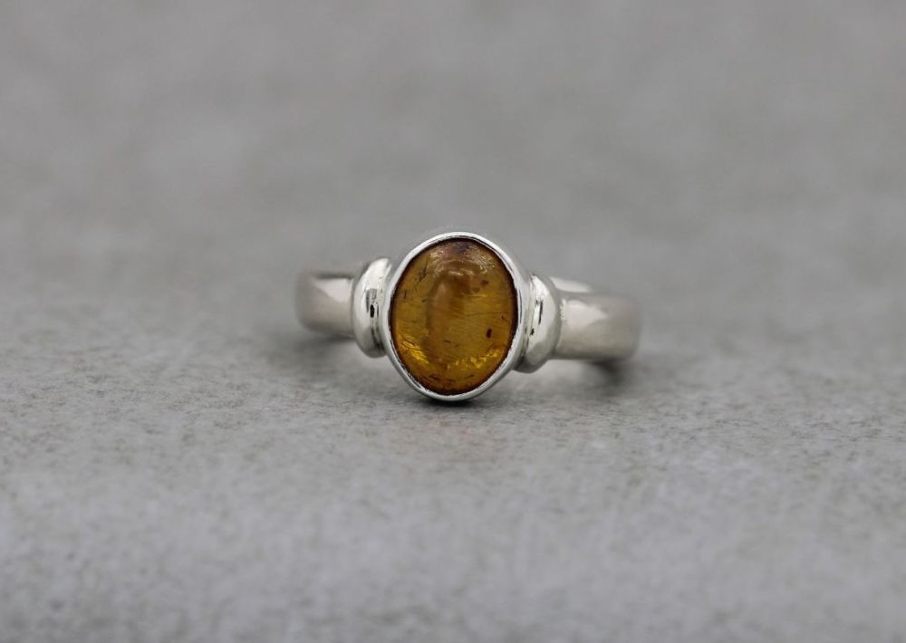 Thick set sterling silver & amber ring