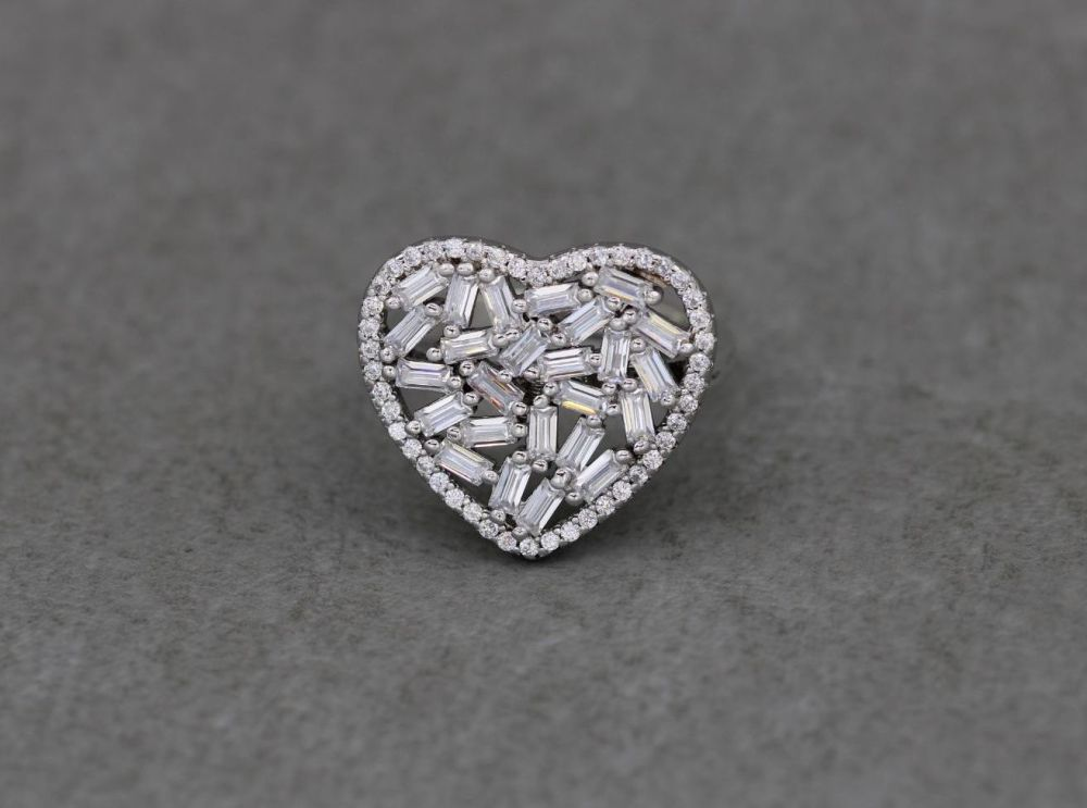 Sterling silver heart ring with multi-cut clear stones