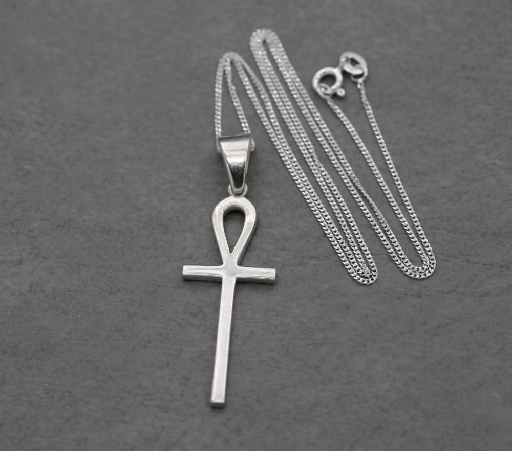 Solid sterling silver Egyptian ankh necklace