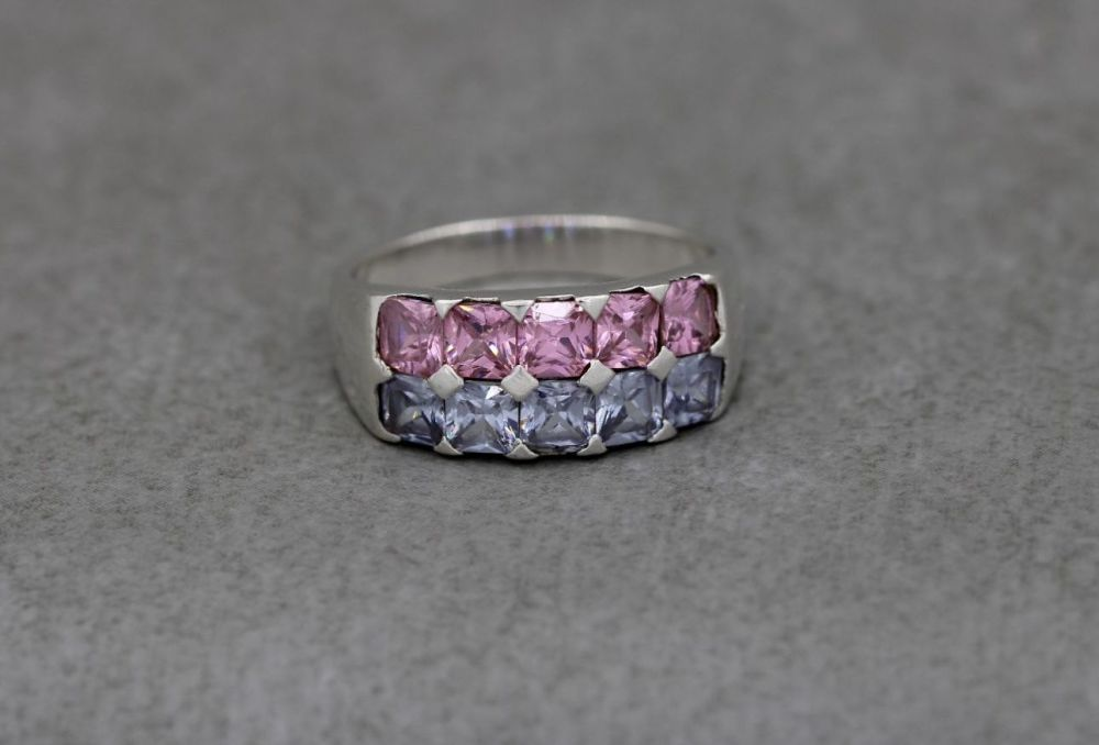 Sterling silver ring with pink & lilac stones