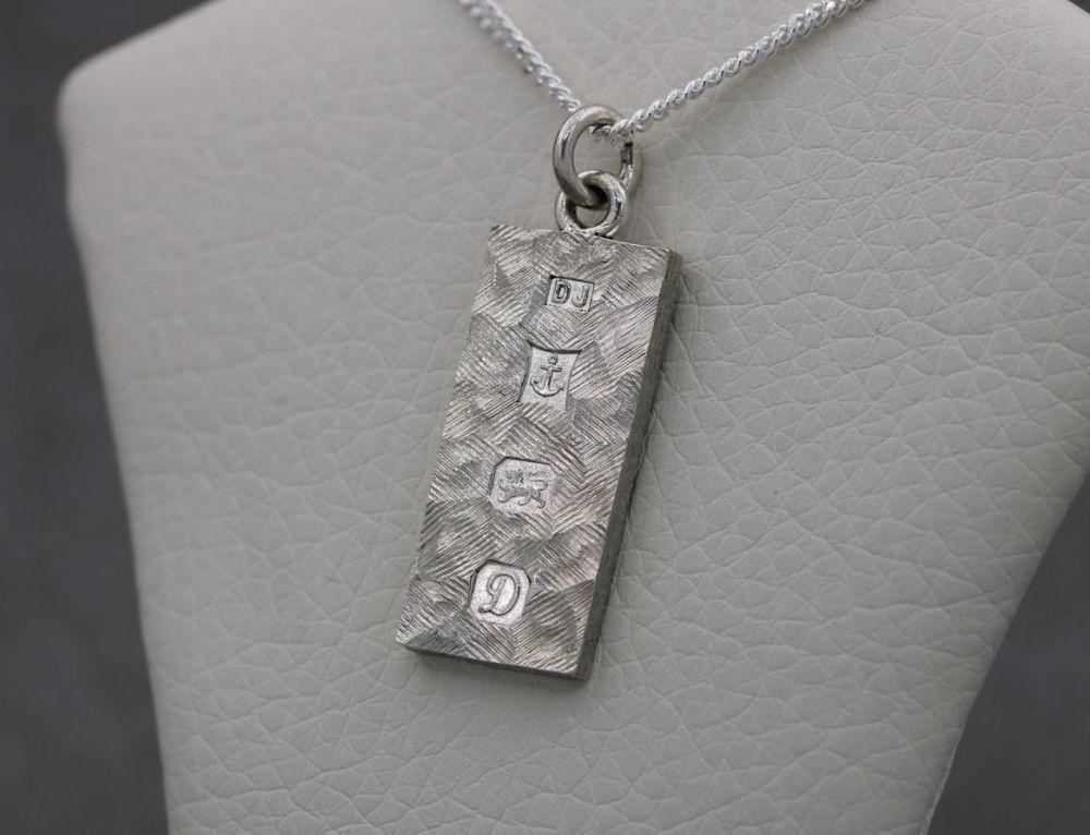 Vintage sterling silver textured ingot necklace