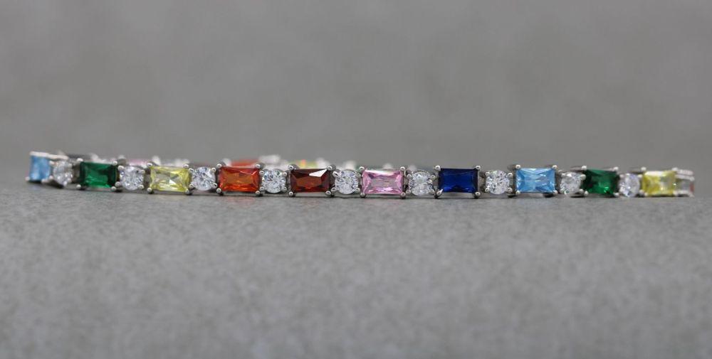 Sterling silver & multi-colour stone tennis bracelet