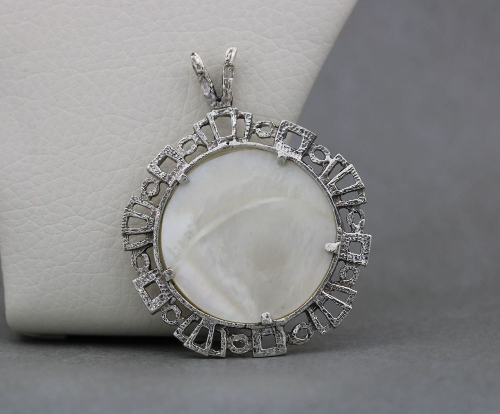 Large Polish sterling silver & mother of pearl pendant
