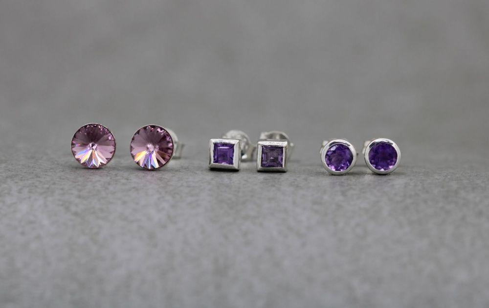 3 x pairs of sterling silver stud earrings; amethyst & crystal