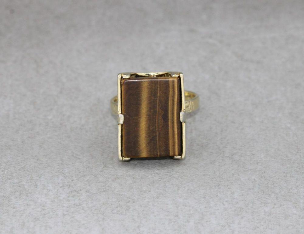 Adjustable vintage gilt sterling silver & tiger's eye ring
