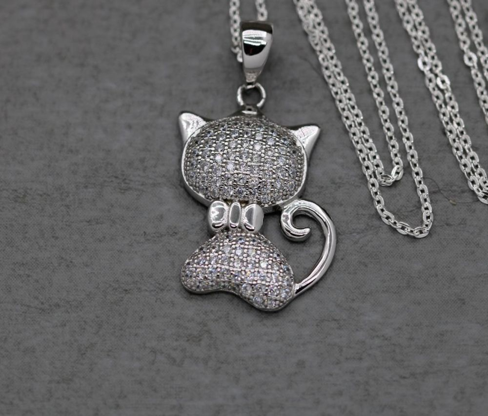 Sterling silver cat necklace encrusted with clear stones