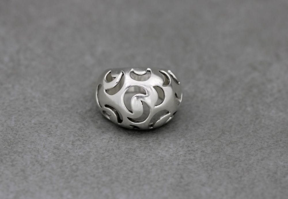 Domed sterling silver ring with cut-out moons