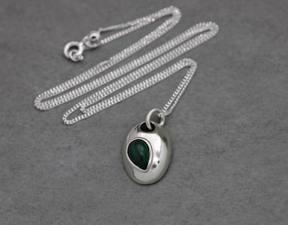 Small handmade sterling silver & malachite necklace