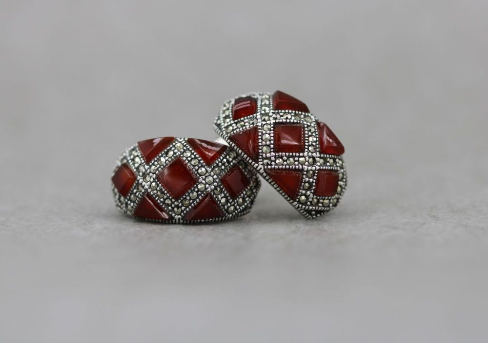 Sterling silver, carnelian & marcasite earrings