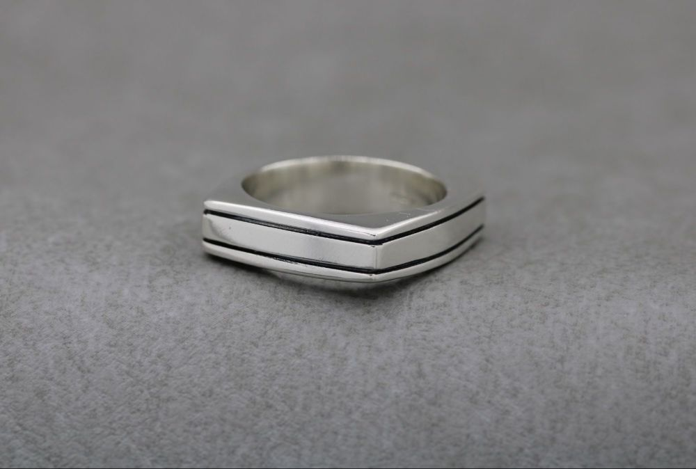Heavy square sterling silver ring with two oxidised stripes