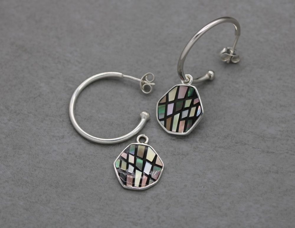 2-way sterling silver hoop earrings with mosaic abalone shapes