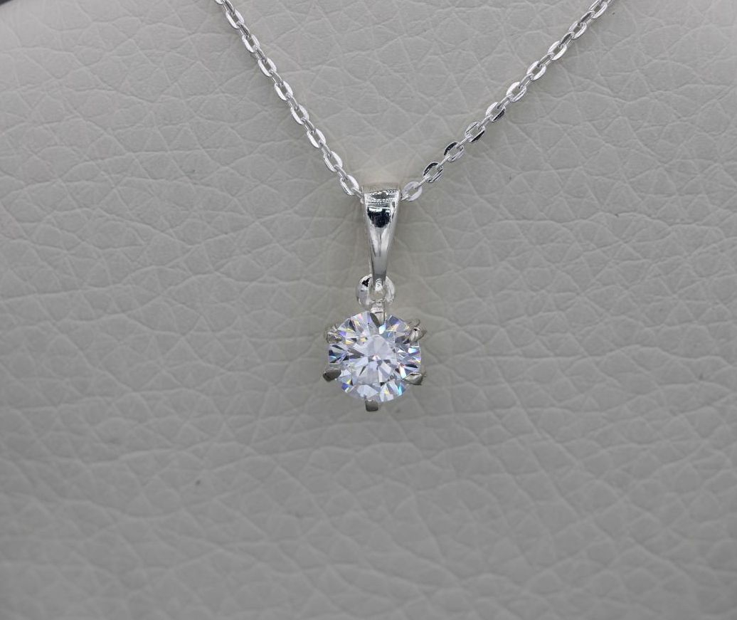 Dainty sterling silver & clear crystal solitaire necklace
