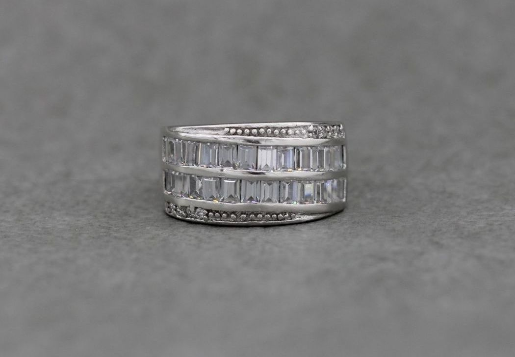 Wide sterling silver & clear stone ring