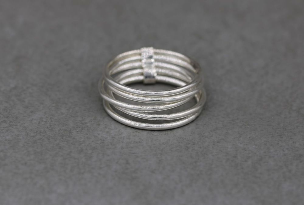 Sterling silver multi-band stacked ring