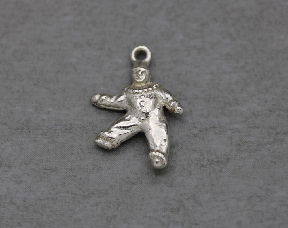Vintage silver clown charm