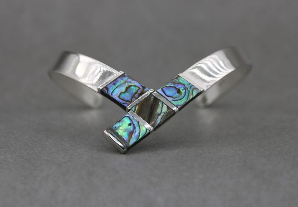 Sterling silver & abalone dipped cuff