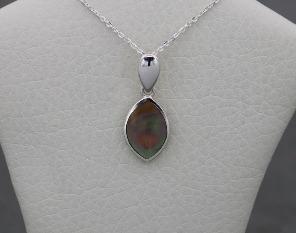 Small sterling silver & mother of pearl necklace