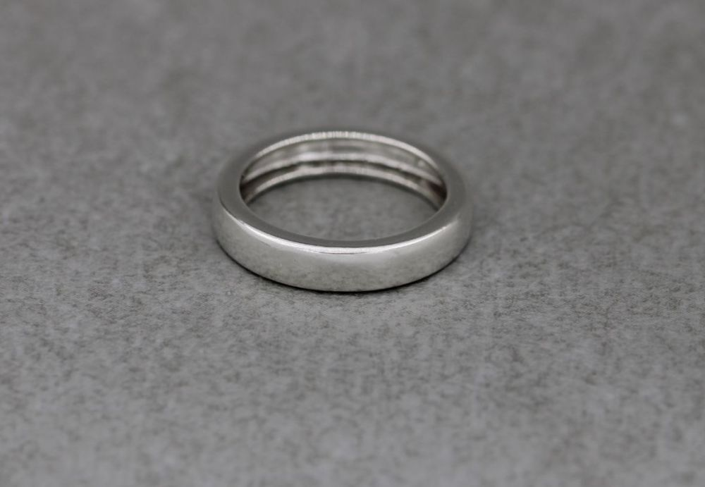 Sterling silver 'C' profile wedding band ring
