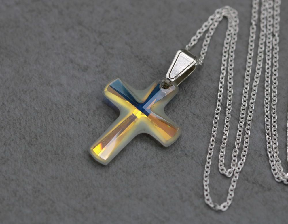 Small sterling silver & foil-backed cross necklace