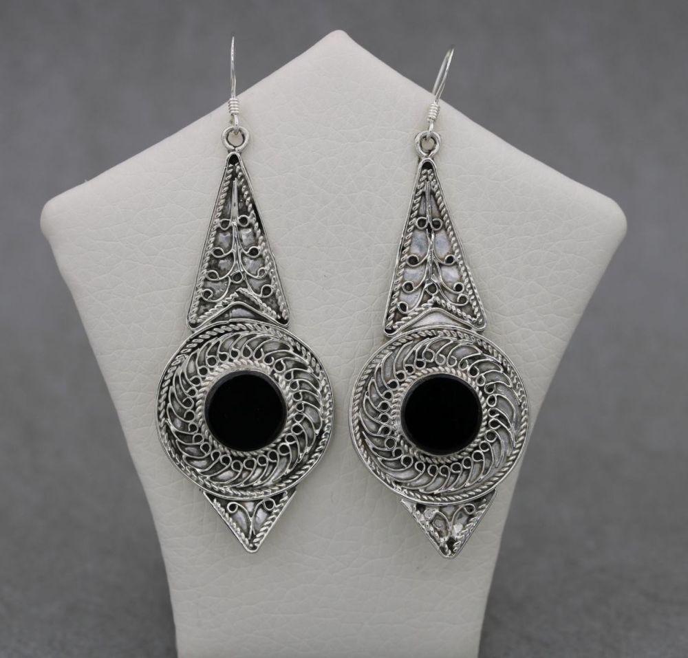 Large ornate sterling silver & black stone earrings