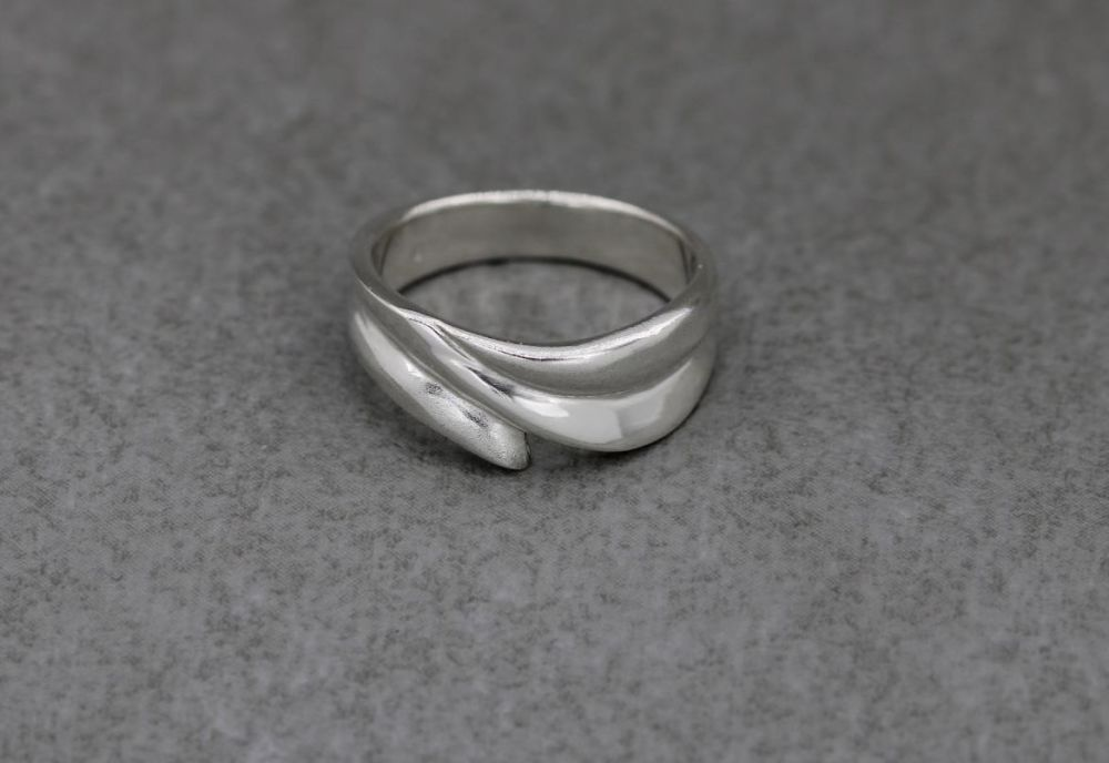 Asymmetric sterling silver ring