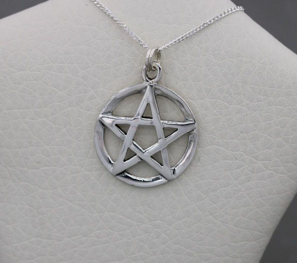Sterling silver pentagram star necklace