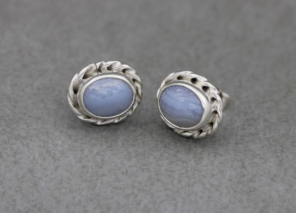 Sterling silver & blue lace agate stud earrings