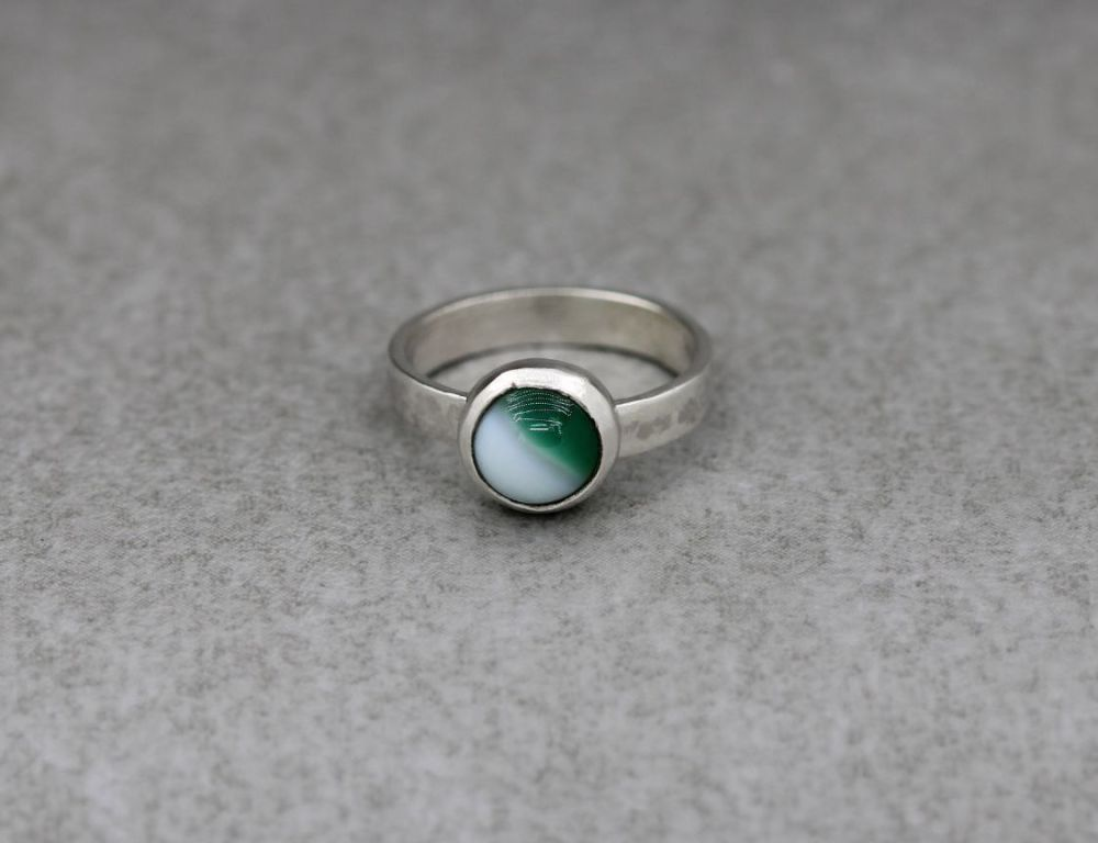 Handmade sterling silver ring with a green & white agate cabochon